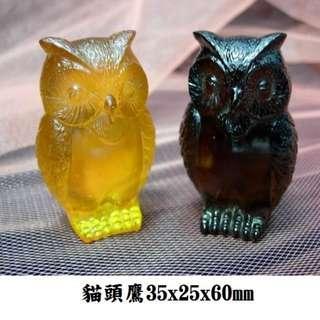 貓頭鷹琉璃35x25x60mm