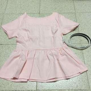 Pink Top 粉紅 上衣 斯文 番工 出街 修腰 送皮帶