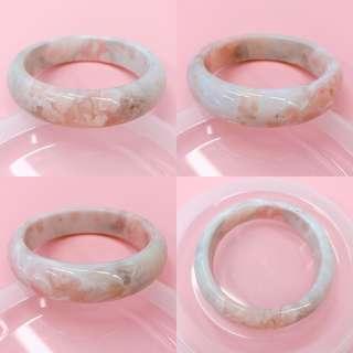櫻花瑪瑙手鈪手鐲小圈口53 紫粉底 雲彩紋 微瑕特價
