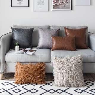 Warm Colour Fluffy and Leather Cushion Cover, 暖色系毛毛皮革咕𠱸套