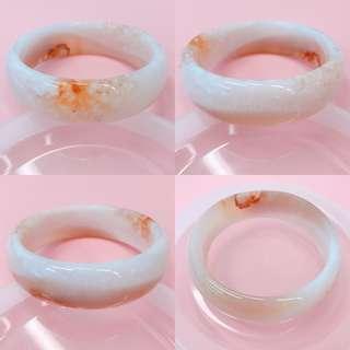 櫻花瑪瑙手鈪手鐲小圈口54.5 瓷白底 小花瓣團 份量款 微瑕特價