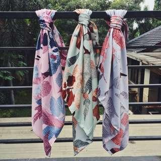Hijab motif daun (baru)