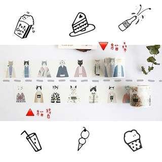 🚚 日本🇯🇵貓醬/貓桑 文青 和紙膠帶 手帳貼紙 紙膠帶 文具 膠帶