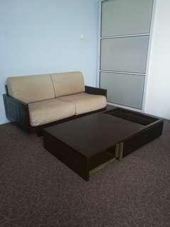 Free delivery**Sofa wood&coffee table