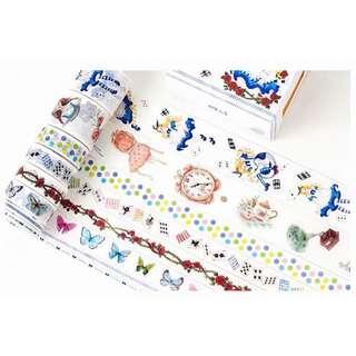 🚚 8卷入! 少女心 童話故事 愛麗絲系列 紙膠帶 8卷入套裝 alice 愛麗絲夢遊仙境 膠帶 和紙膠帶 紙膠帶 文青 手帳貼紙 裝飾貼紙 拼貼畫