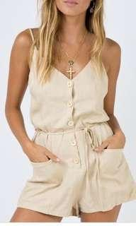 Beige Playsuit Princess Polly