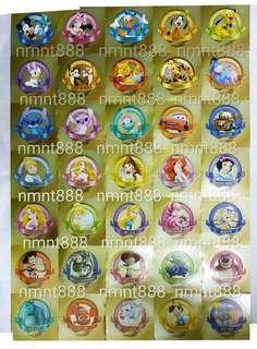 Disney 迪士尼 2012年-2015年 舊版 金色 卡通 金色 貼紙 Sticker 35張/套