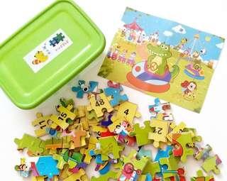 兒童益智盒裝鱷魚遊樂場拼圖 60塊