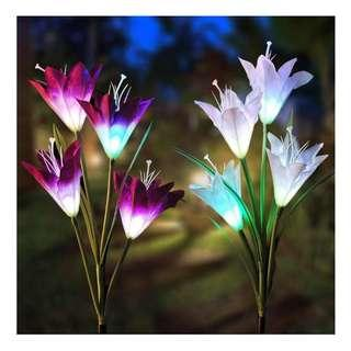 Solar Garden Lily Stake Lights Outdoor