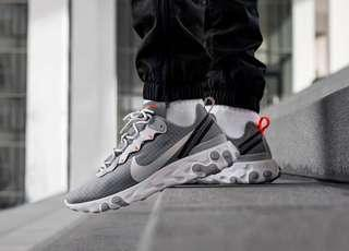 Nike React Element 55 Grey Grid Ripstop Hyper Crimson
