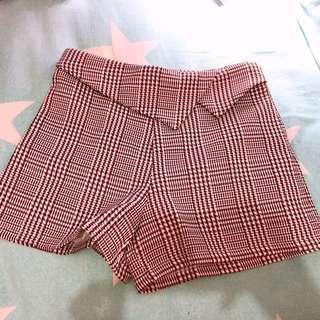 千鳥格咖啡色 休閑褲 小西褲