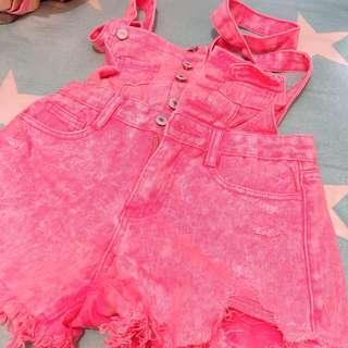 粉紅洗水工人連身熱褲