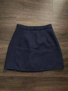Navy Blue Basic A-Line Skirt