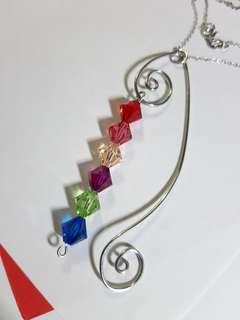 Swarovski elements crystal bicone beads handmade pendant wire work my design jewelry 925 Italy sterling silver necklace 施華洛世奇水晶元素雙錐形型手造繞銅線自家製設計吊墜咀嘴配意大利925純銀頸鍊項鏈