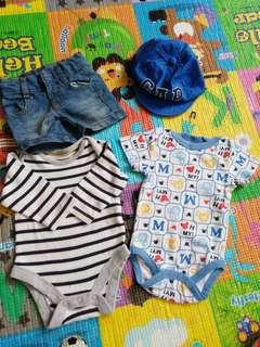 Combo baby rompers,jeans n hat