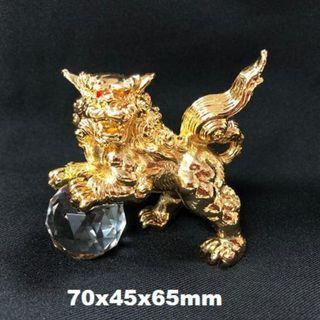 合金麒麟+切割水晶球 70x45x65mm