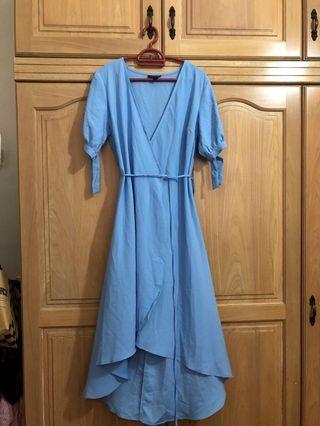 Topshop blue wrap dress