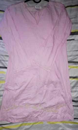 Baju kurung cotton pink jkids