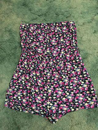 Super m strapless flower playsuit
