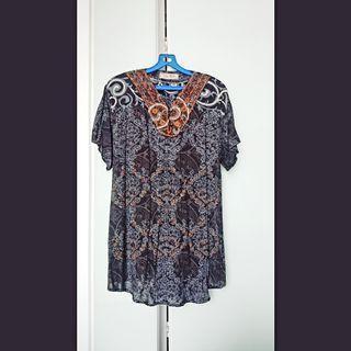 Blue batik printed top
