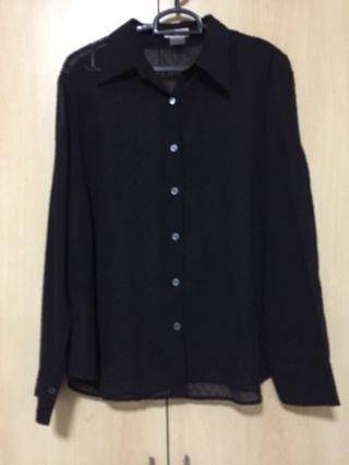 The station Black Shear L/S Blouse