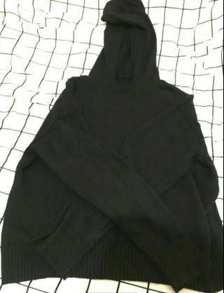 🚚 抽繩針織上衣 (黑)
