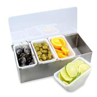 ★Stainless Steel★4 Compartments★Food Condiment Sauce Garnish Topping Dispenser holder tray container #EndgameYourExcess