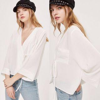 Topshop White Kimono V-Neck Crop Blouse