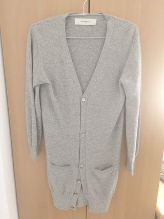 竇騰璜 美麗諾羊毛 灰色長版針織外套