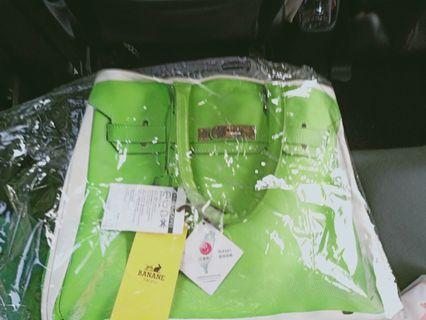 NEW Banane Taipei Green Birkin Print Canvas Bag
