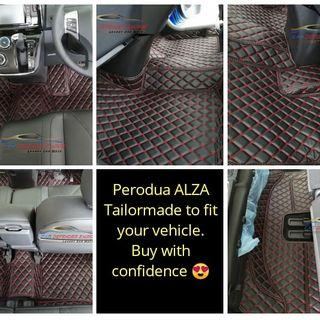 Tailor made luxury car mats Perodua ALZA