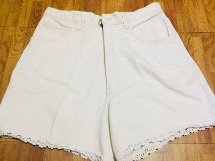 Washed White Hightwaist Shorts