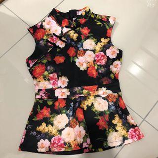 2 for rm30-Mandarin Collar Floral Print Top