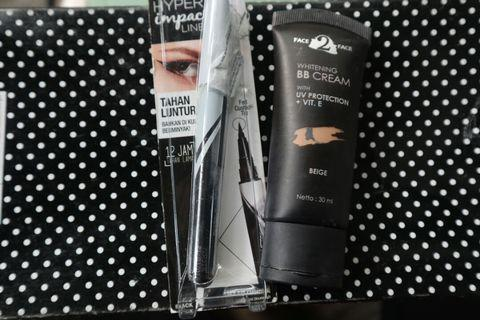 Maybelline Hyper Impact Eye Liner + Face to face whitening BB cream