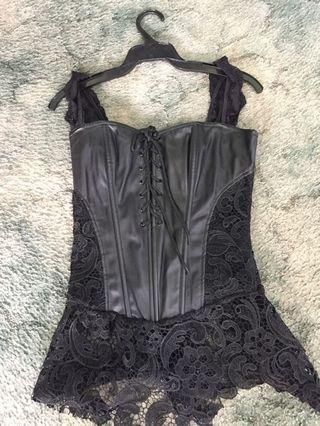 Black L corset with attached skirt lingerie