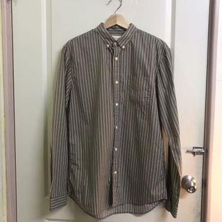 (二手)韓國購入 韓貨 文青男必備 灰咖啡色襯衫