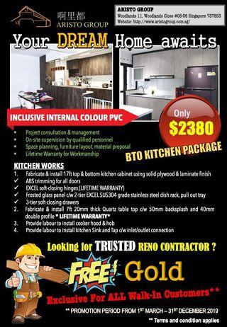 BTO Kitchen Carpentry Package $2380 ONLY!