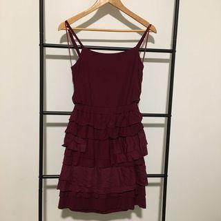 Burgundy Maroon Autumn Dress