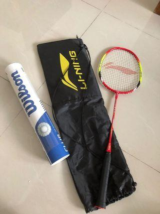 🚚 Badminton racket and shuttlecocks