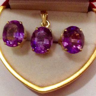 Natural Amethyst Earring and Pendant in 14K Gold