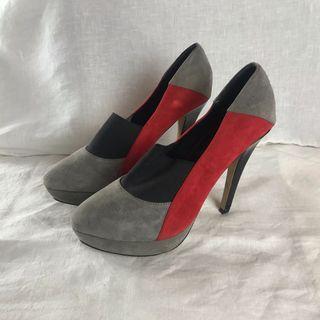 Suede Platform Stiletto Heals | Black, Red and Grey