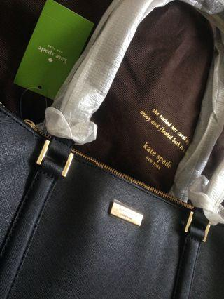 kate spade NEW bag with tag $375, cross-hatched black leather can fit a laptop REPRICED!