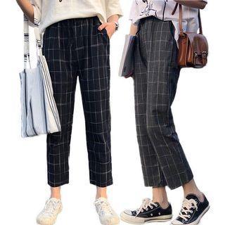 Plaided Long Pants
