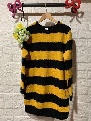 🚚 正韓針織條紋洋裝-黑黃色