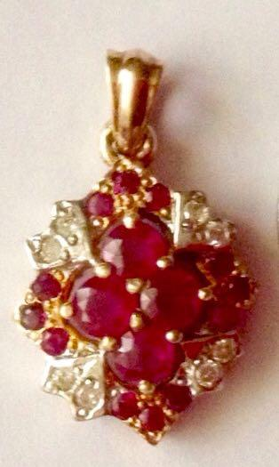 Pendant Pailin Ruby and Diamonds in 14k