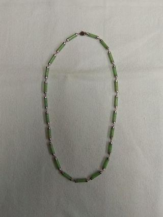 14K White Gold Burmese Jade Necklace
