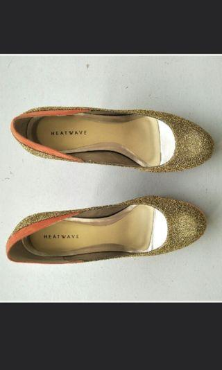 Brand New Heatwave Glittery Gold and Orange Heels
