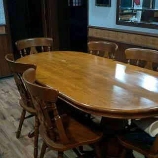 🚚 Solid wood dining table with chairs