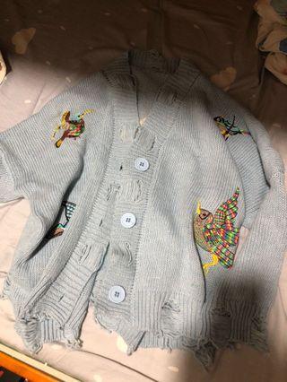 女刺繡毛衣開衫