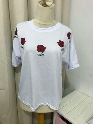 Kaos mawar t-shirt putih tumblr